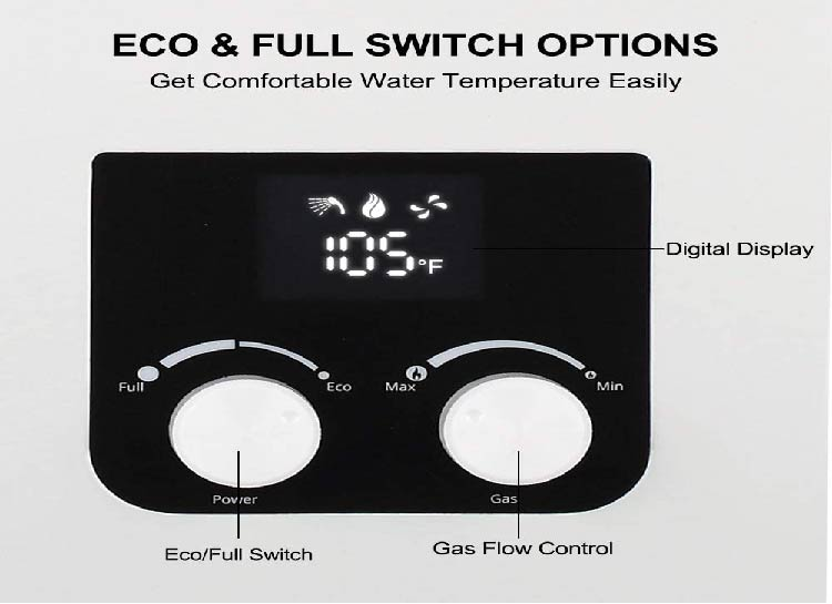 Eco & full switch options residential water heater