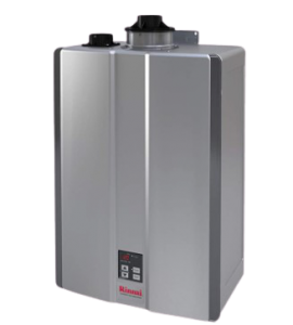 Rinnai RL Series HE+ Tankless Hot Water Heater: Indoor Installation, Large, Silver; inline water heater