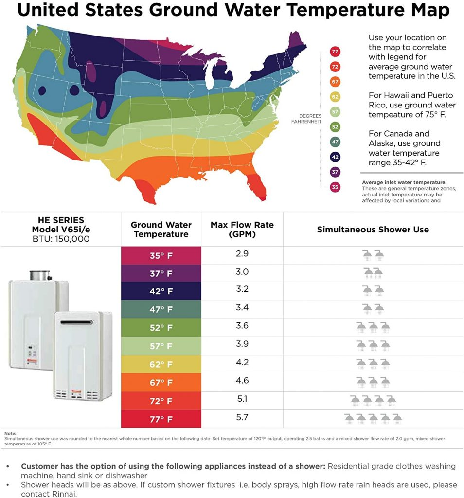 United States ground water temperature map