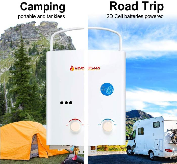 camping portable and tankless + Suitable for road trip