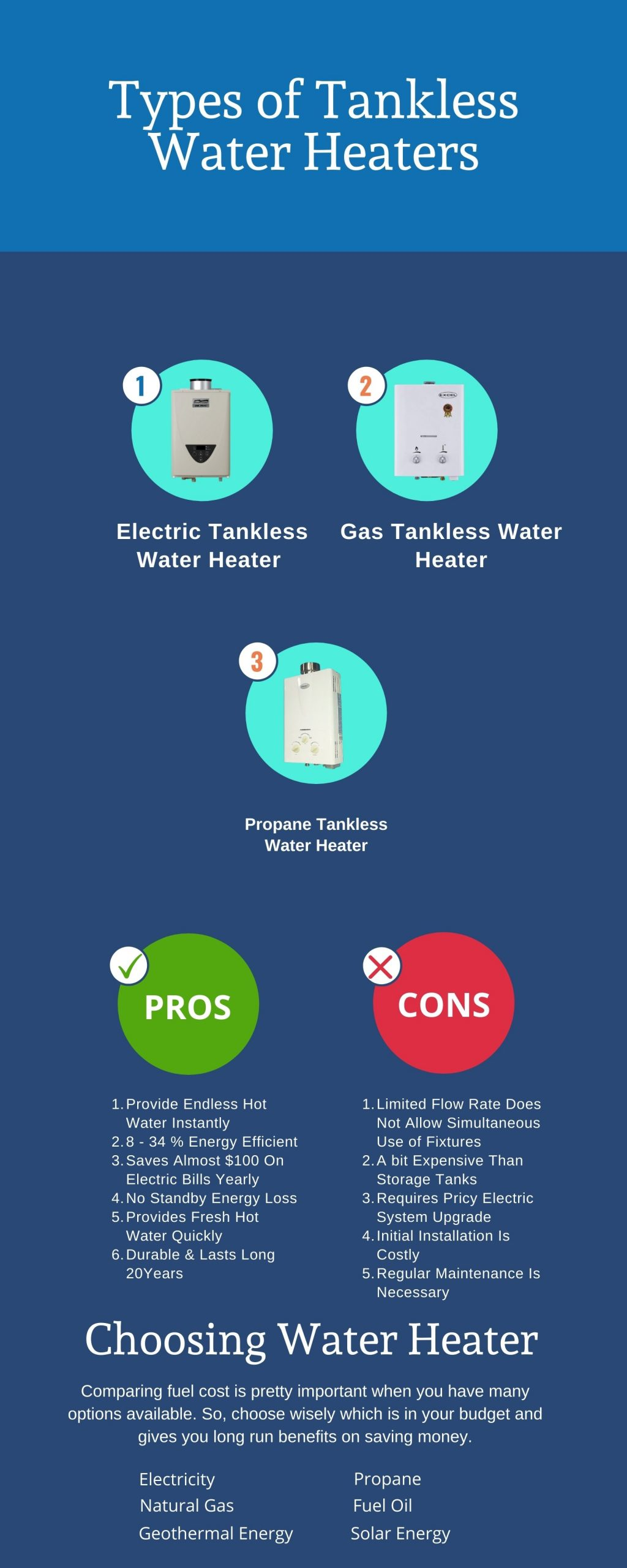 types of tankless water heaters