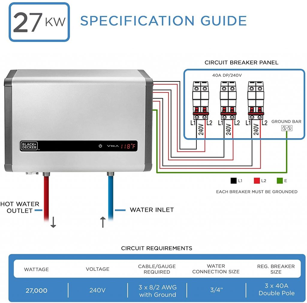 specification guide  of BLACK + DECKER 27 kW Self-Modulating Heater