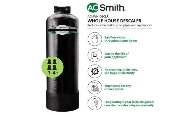 Infographic of  AO Smith Whole House Salt Free Water Descaler